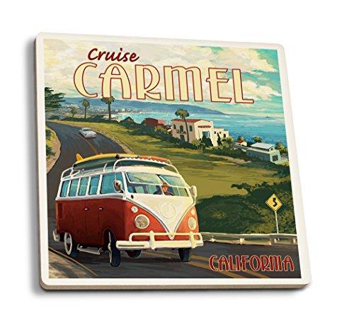 Carmel, California - Camper Van Cruise (Set of 4 Ceramic Coasters - Cork-Backed, Absorbent)