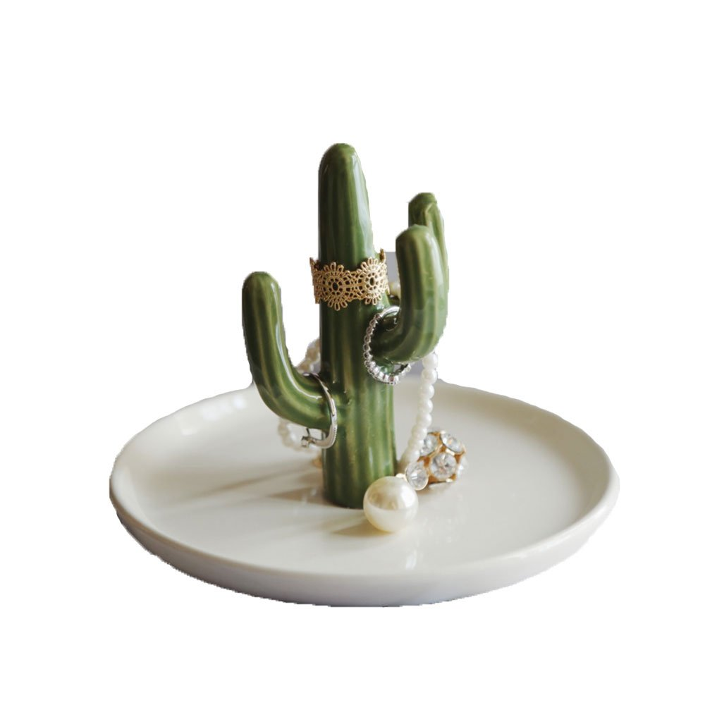 Lovely Cute Cactus Ceramic Round Plate Shape Jewelry Crafts Trinket Tray Organizer Ring Desk Dish Holder White Body Design Gift for Daughter Girlfriend Wedding Birthday Office Home Decoration