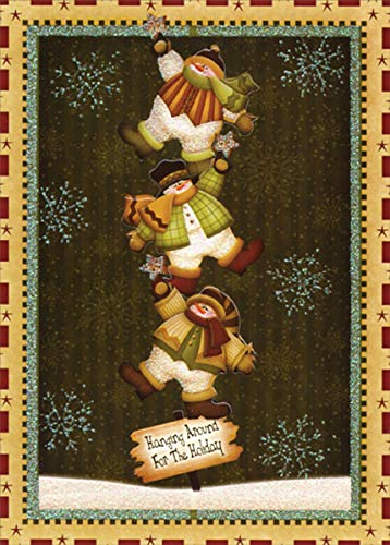 Hanging Around for The Holiday : Angela Anderson Pop Out 3-D Die Cut LPG Greetings Christmas Card
