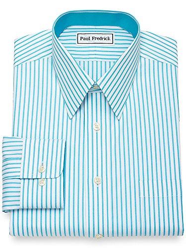 Paul Fredrick Men's Non-Iron Cotton Bengal Stripe Dress Shirt Aqua 17.0/35