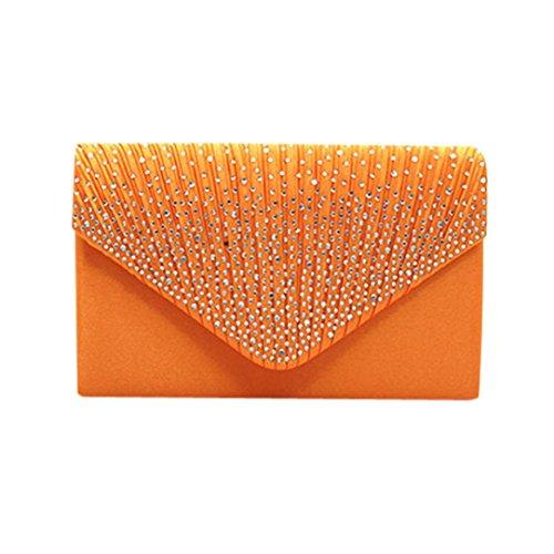 Diamante Satin Bridal Clutch Handbag Ladies SOMESUN Women Large Evening Bag Orange
