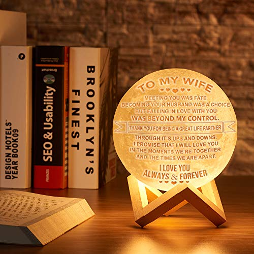 Engraved 3D Moon Lamp for Daughter,Personalized 5.9 Inch 3D Printing Moon Light Gift for Daughter Son Graduation Gift from Mom, from Dad (for Wife) by K KENON (Image #1)