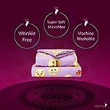 Chital Emoji Sheet Set - Kids' Sheets - Includes a Flat Sheet, a Fitted Sheet & a Pillow Case - Super Soft Microfiber Sheet Set - Wrinkle-free Linen Cot Bed Sheets , (Purple ,Cot Size)
