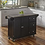 narrow kitchen island Liberty Black Kitchen Cart with Stainless Steel Top by Home Styles