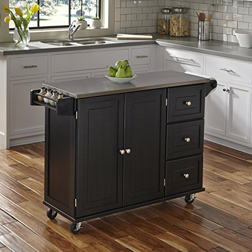 Homestyles 2 Drawer Cabinet - Liberty Black Kitchen Cart with Stainless Steel Top by Home Styles