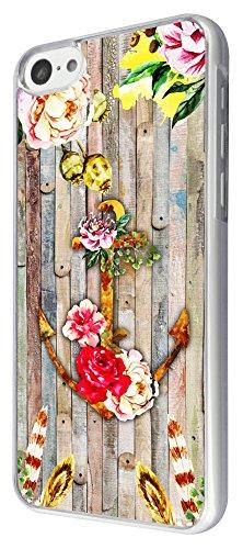 308 - Floral shabby chic Anchor Roses Wood background Design iphone 5C Coque Fashion Trend Case Coque Protection Cover plastique et métal