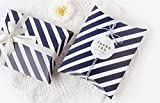 AimtoHome Pillow Candy Box Navy Blue White Stripes Pillow Style Design For Wedding Baby Shower Birthday Party Supplies Favor Box Party Favors Pack of 50