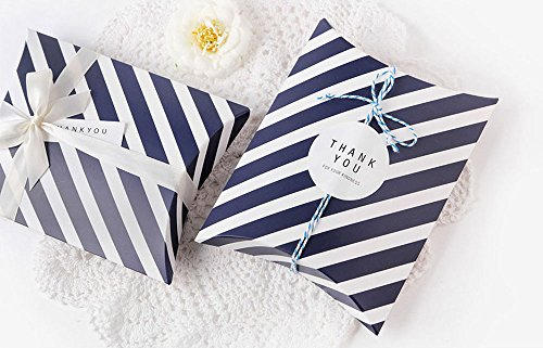 AimtoHome Pillow Candy Box Navy Blue White Stripes Pillow Style Design For Wedding Baby Shower Birthday Party Supplies Favor Box Party Favors Pack of 50 by AimtoHome