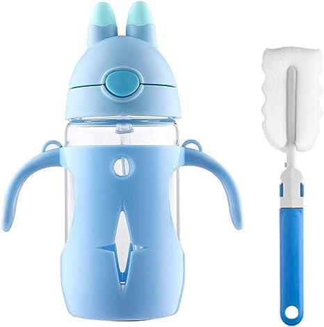 Manstro - Botella de agua para niños con pajita, cristal de borosilicato con funda protectora PP, sin BPA, 300 ml azul: Amazon.es: Hogar