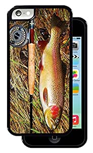 Fish and Pole - Black iPhone 5C Protective Rubber Cover