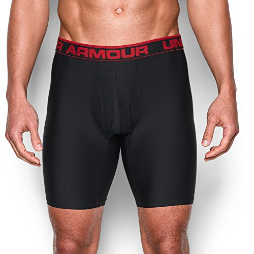 "Under Armour Men's Original Series 9"" Boxerjock, Black/Red, Small"