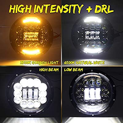 CO LIGHT Pair LED Headlights for Jeep Wrangler 7'' inch round Hign Low Beam with Halo DRL for JK TJ LJ Motorcycle with H4 H13 Adapter: Automotive