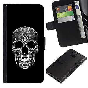 ZCell / HTC One M8 / Music Skull Death Metal Dark Art Black / Caso Shell Armor Funda Case Cover Wallet / Música cráneo muerte metal