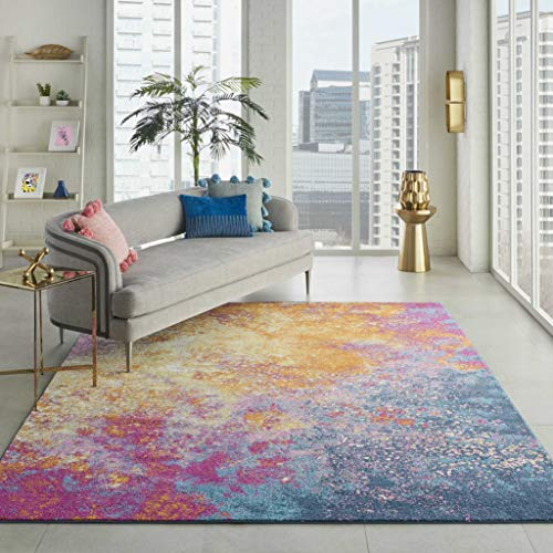 - Nourison  Passion Modern Abstract Colorful Sunburst Area Rug, 8' x  10'