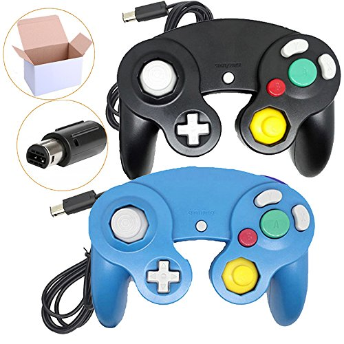 Bowink 2 Packs Classic NGC Wired Controllers for Wii Gamecube (Black1 and Blue1) (Best Wireless Gamecube Controller)