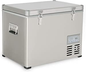 Kalamera 1.6 Cu. ft 47 Quart Portable Refrigerator/Freezer Stainless-steel AC 110V / DC 12/24V