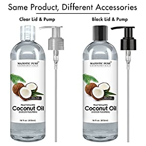 Majestic Pure Fractionated Coconut Oil, For Aromatherapy Relaxing Massage, Carrier Oil for Diluting Essential Oils, Hair & Skin Care Benefits, Moisturizer & Softener - 16 fl Oz.