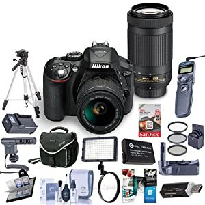 Nikon D5300 DX-Format DSLR Kit, Black with AF-P DX NIKKOR 18-55mm f/3.5-5.6G VR and AF-P DX NIKKOR 70-300mm f/4.5-6.3G ED - Bundle with Camera Case, 64GB SDHC Card, Tripod, Software Package and More