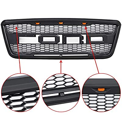 VZ4X4 Front Grill Fit for 2004 2005 2006 2007 2008 Ford F150 with Amber Lights and Replaceable Letters - Matte Black: Automotive