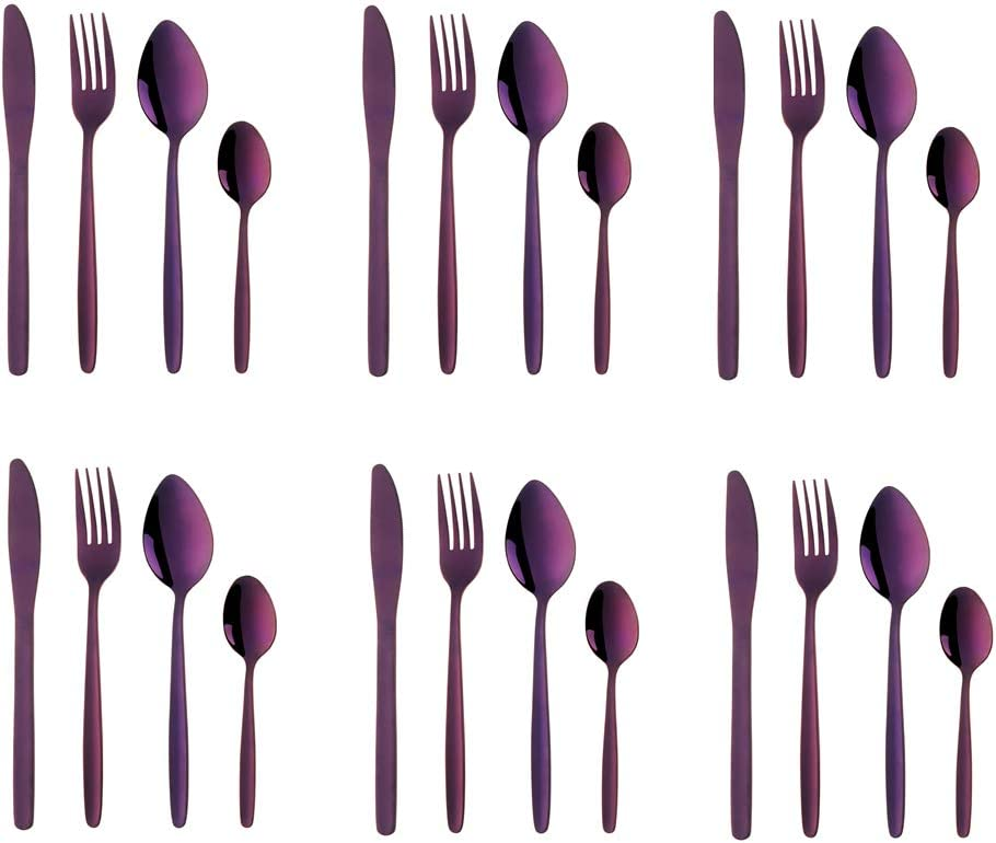 Purple Silverware Set, BuyGo 24-Piece Stainless Steel Camping Flatware Dinnerware Set for 6, Hand Polish, Dishwasher Safe