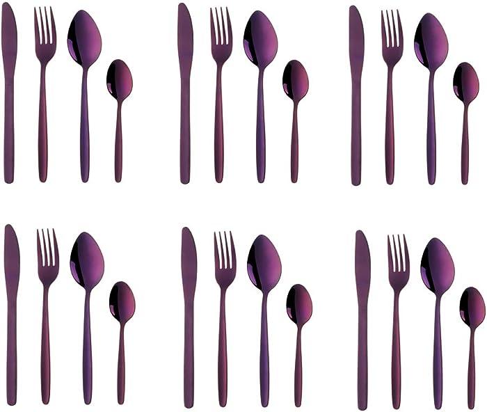 Purple Silverware Set, BuyGo 24-Piece Stainless Steel Camping Flatware Dinnerware Set for 6, Hand Polish, Dishwasher Safe