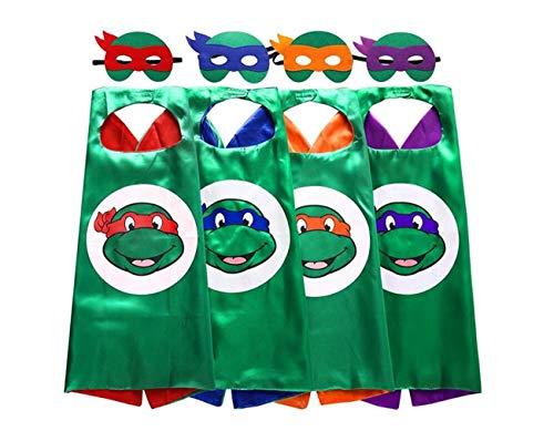 TMNT Cartoon Costume - 4 x Thermal Pransfer Satin Cape with Felt Mask. Ages 3 to 8 years