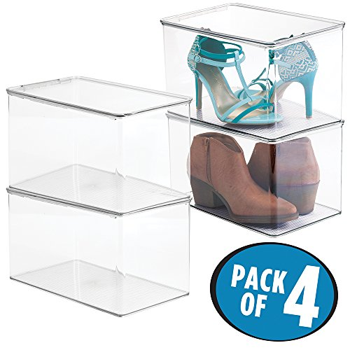 mDesign Stackable Shoe Storage Bins with Hinged Lid - Closet Storage Containers - Organizer Box for Running Shoes, High Heels, Womens Boots, Pumps, Sandals, Flats - 7 Inches High, Pack - Clear Boxes Shoe Boot