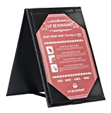 Pack of 10 • Better Quality Restaurant Table Tents #0201 BLACK DOUBLE SIDED - TWO-VIEW - Large 4'' x 6'' Insert. Talk to your patrons throughout their meal. SEE MORE: Type MenuCoverMan in Amazon search.