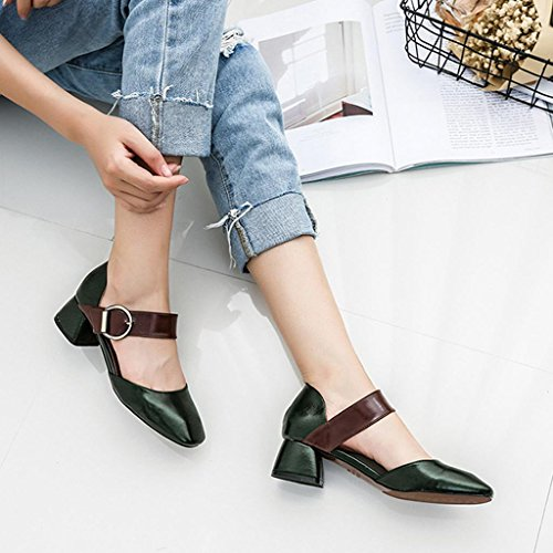 Buckle Sandals Rough Sandals Green Shoes Heel Summer Heel Ladies Buckle Retro ZHIFENGLIU TqUxZBww