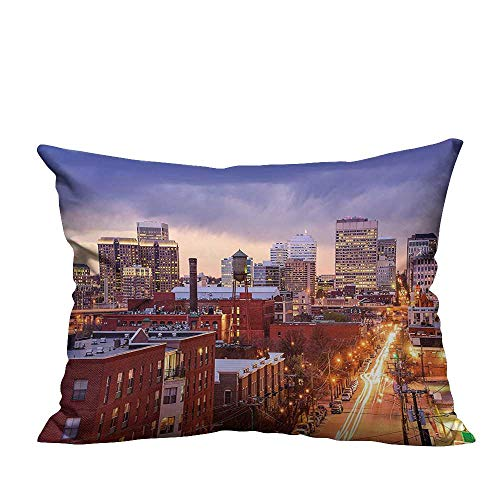 YouXianHome Decorative Throw Pillow Case Richmond Virginia Highway Office Buildings Downtown at Dusk Urban Lifestyle Ideal Decoration(Double-Sided Printing) 13.5x19 -