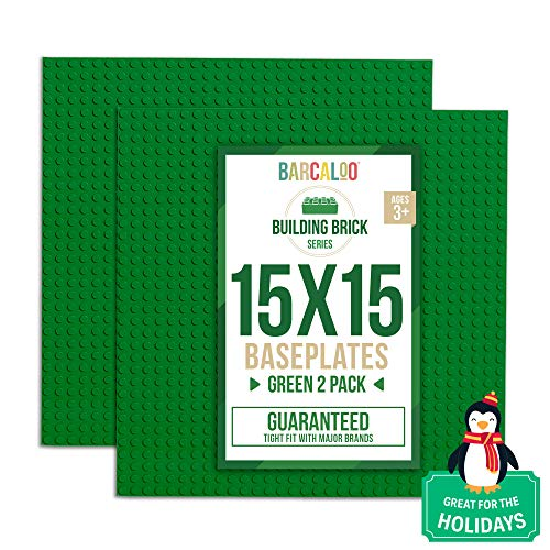 15 Inch x 15 Inch Baseplate for Building Bricks -Two Pack - Green Classic Baseplates Compatible with All Major Brands (Base Gray Lego)