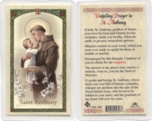 - UNFAILING PRAYER TO SAINT ANTHONY. Laminated 2-Sided Holy Card (3 Cards per Order)