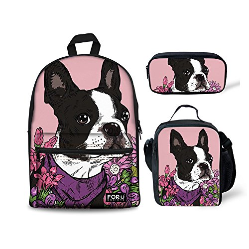 FOR U DESIGNS Pink School Backpack for Teen Girls Boston Terrier Bookbag Lunch Bags Tote Pencil Case Set 3 (Soft Side Boston Bag)