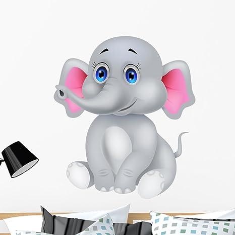 Wallmonkeys Cute Baby Elephant Cartoon Wall Decal Peel And Stick Graphic 36 In H X 31 In W Wm68830