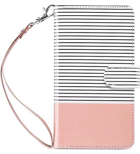 (ULAK iPhone 6 Plus Case, iPhone 6s Plus Wallet Case, Flip Folio PU Leather Cover with Multi Card Holders Pockets Magnetic Closure Case for Apple iPhone 6/6s Plus 5.5 inch, Rose Gold+Minimal Stripes)