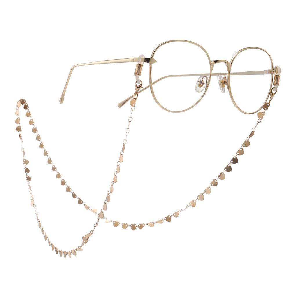Catene di corda per occhiali Elegante antiscivolo rame dorato cuore di pesca occhiali cinturini a catena cordicelle supporto semplicit/à cordino collana occhiali da vista supporto collo cinturino per i