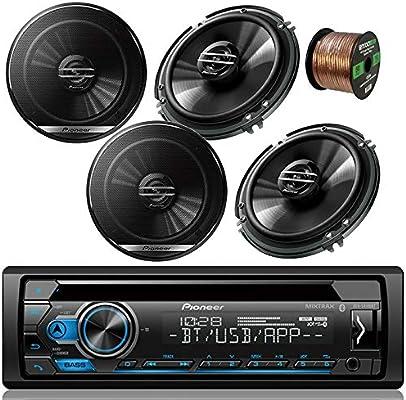 Pioneer DEH-S4100BT Car Bluetooth Radio USB AUX CD Player Receiver - Bundle  Combo with 4X Pioneer TSG1620F 6 5