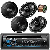 Pioneer DEH-S4100BT Car Bluetooth Radio USB AUX CD Player Receiver - Bundle Combo with 4X Pioneer TSG1620F 6.5' 300W 2-Way Black Car Coaxial Audio Speakers + Enrock 50 Ft 16 Gauge Speaker Wire