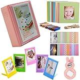 SAIKA Mini 28 Pocket Instax Mini 9 8 Accessories Bundle without Case for Fujifilm Instax Mini 9 8 8+ Instant Camera/Fujifilm Instax Mini Instant Film/HP Sprocket Photo printer- Pink