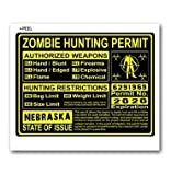 Nebraska NE Zombie Hunting License Permit Yellow - Biohazard Response Team - Window Bumper Locker Sticker