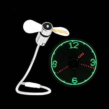 Mini Fan for Laptop and PC Light Display Time USB LED Clock Fan with Clock