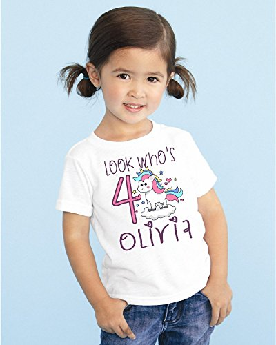 Magic Custom (Look Who's Girls Kids Youth Unicorn Personalized Birthday T Shirt TEE Custom NAME AGE Cute Magic Gift DESIGN 3)