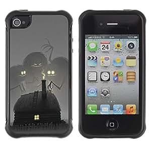 Suave TPU GEL Carcasa Funda Silicona Blando Estuche Caso de protección (para) Apple Iphone 4 / 4S / CECELL Phone case / / Fairytale Drawing Monster Kids /