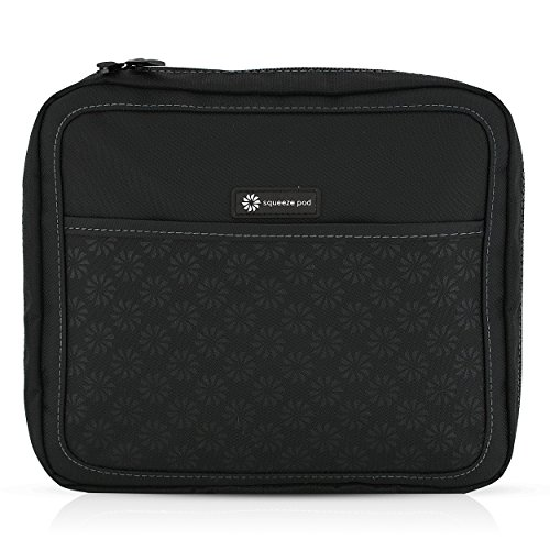 Squeeze Pod Slim Toiletry Travel Bag - 2 Bags in 1: Durable Nylon Toiletry Case + Removable Clear Quart Size Bag - TSA Approved. Compact Size for Carry-On Bag. Easy to Pack & Organize (PAPBK)