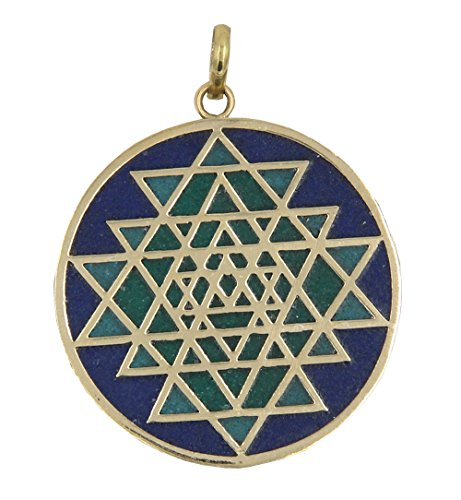 Pendant Talisman Protection (Dharmaobjects Shri Yantra Chakra Talisman Protection Good Luck Magic Brass Multi Stone Color Inlay Pendant Necklace (Green Blue))