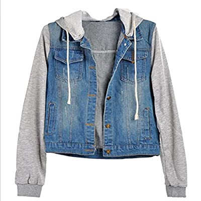 Cnlinkco Women's Denim Jacket Layered Drawstring Hooded Jean Jacket With Pockets