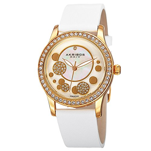 Akribos XXIV Ornate Womens Casual Watch - Mother of Pearl Center Dial - Quartz Movement - Crystal Filled Bezel - Suede Leather Strap - White