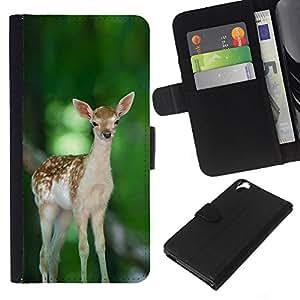 LECELL--Cuero de la tarjeta la carpeta del tirón Smartphone Slots Protección Holder For HTC Desire 820 -- Feliz lindo del cervatillo de los ciervos --