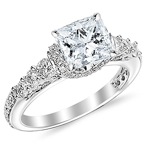 1.85 Cttw 14K White Gold Princess Cut Designer Four Prong Pave Set Round Diamonds Engagement Ring with a 1 Carat G-H Color SI1-SI2 Clarity Center