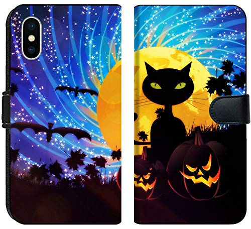 Liili Premium iPhone X Flip Micro Fabric Wallet Case Halloween Party Background with Pumpkins and Moon on Starry Sky Image ID 21658403 -